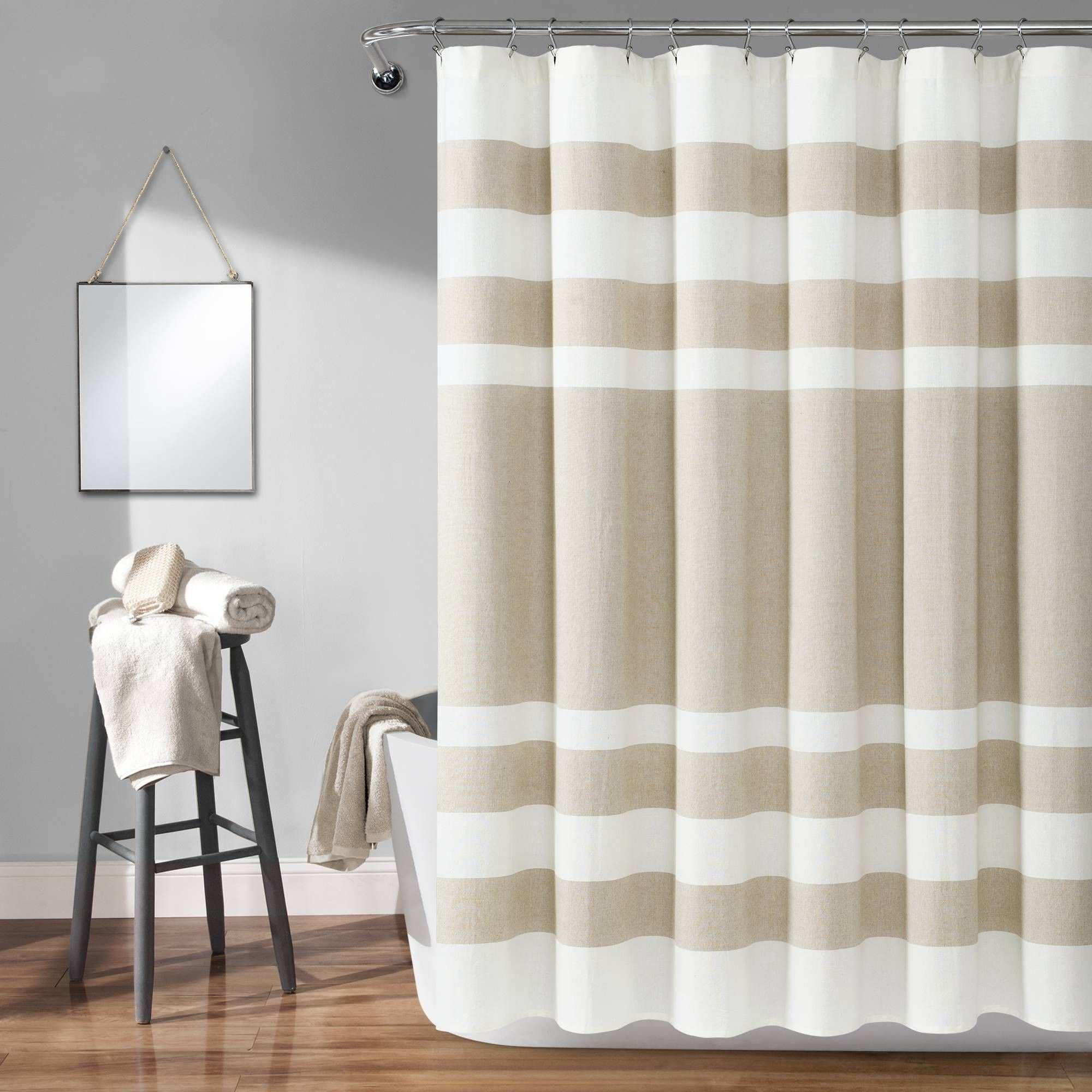 Cape Cod Stripe Yarn Dyed Cotton Shower Curtain Taupe White Lush