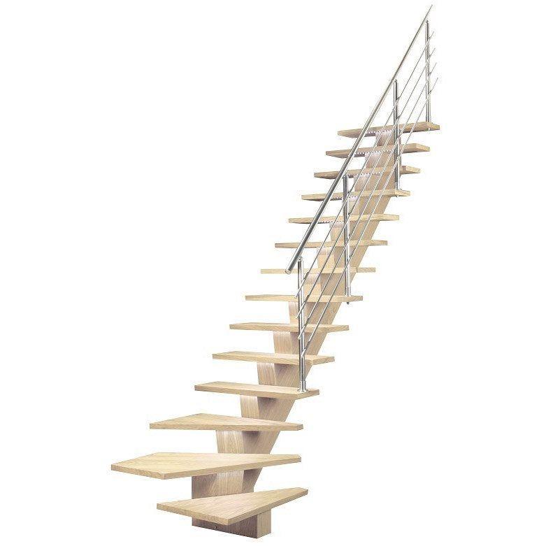 Escalier 1 4 Tournant Bas Gauche Acier Kalea 14 Marches Chene