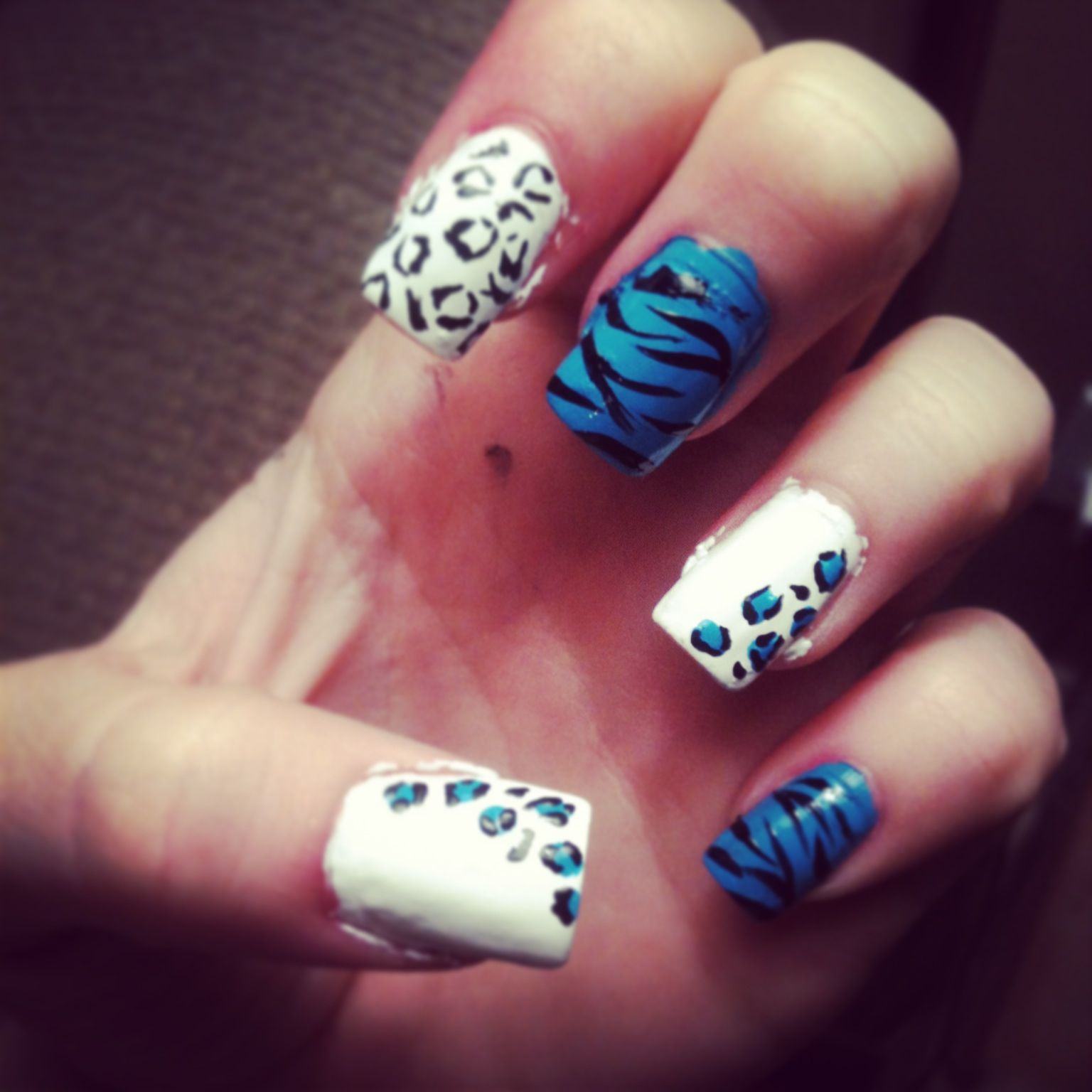 My attempt. Zebra cheetah print turquoise white nail design | Nails ...