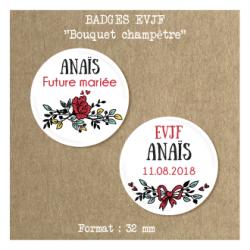 Badge EVJF Bouquet champêtre 32 mm