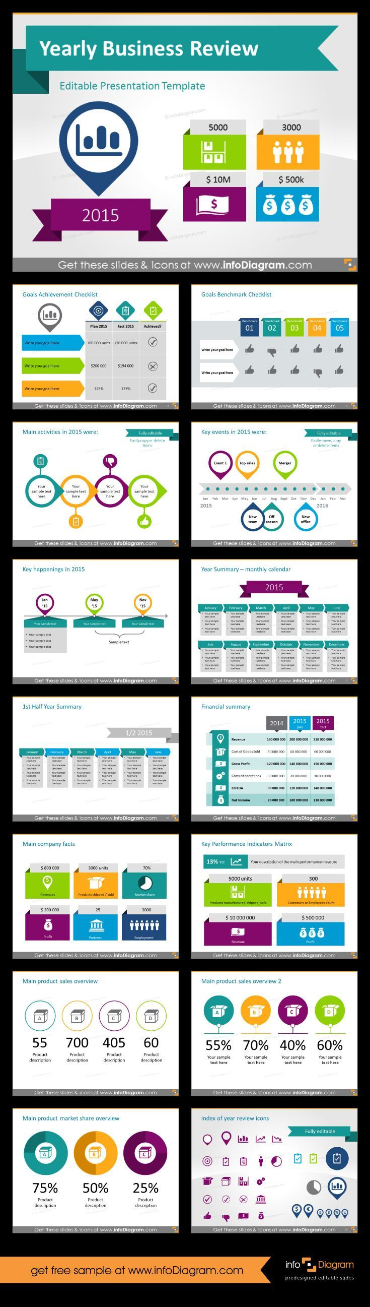 cool end of year business review presentation template. for board, Presentation templates