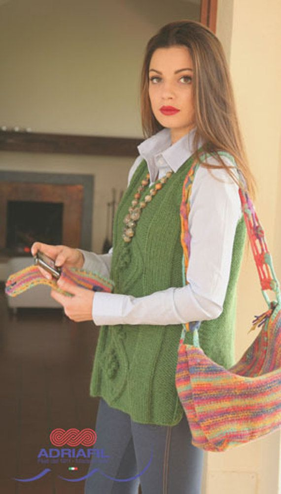 Tipo Waistcoat and Bag in Adriafil Mirtillo and Crea - Downloadable PDF. Discover more patterns by Adriafil at LoveKnitting. We stock patterns, yarn, needles and books from all of your favourite brands.