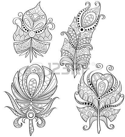 Coloriage Adulte Blanc.Coloriage Adulte Plumes Decoratives Plumes Tribales Avec Ornement