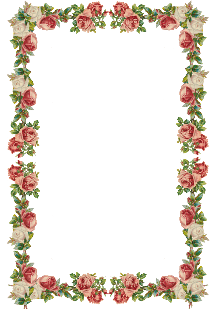 Free Digital Vintage Rose Frame And Border Png