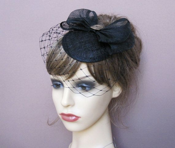 92f932d5e9338f Black sinamay fascinator small hat with veil cocktail wedding ...