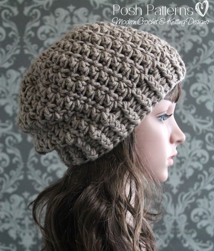 Shell Stitch Slouchy Hat Crochet Pattern