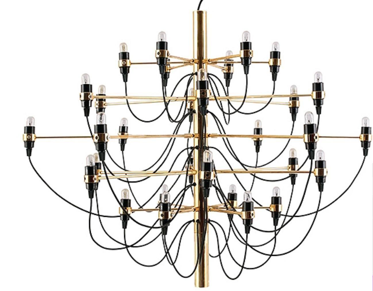 Chandelier Gold 50 Ampoules Inspiré Design Gino Sarfatti Lestens Fr