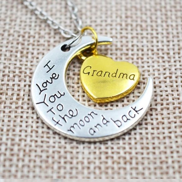 Grandma I love you to the moon and back Great quality fashion necklace. Made of zinc alloy. Nickel and lead compliant. Jewelry Necklaces