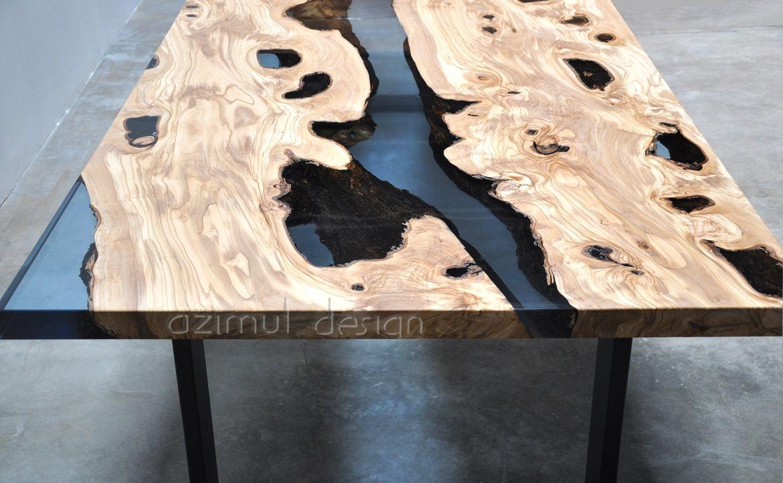 Tavolo in legno e resina realizzato con sezioni di antico for Tavolo legno resina