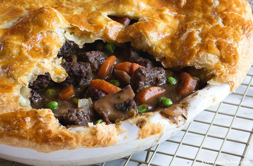 Savory Steak and Mushroom Pot Pie Recipe | Beef pot pies ...