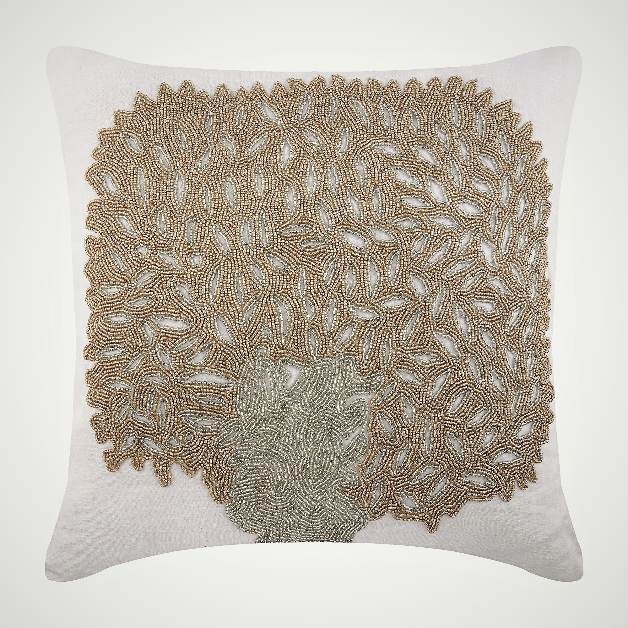 Designer Ivory Throw Pillow For Bed
