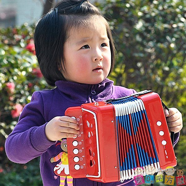 Adorable Little Girl Playing With Beach Toys During: Educational Musical Instrument Toy Child Accordion Music 4