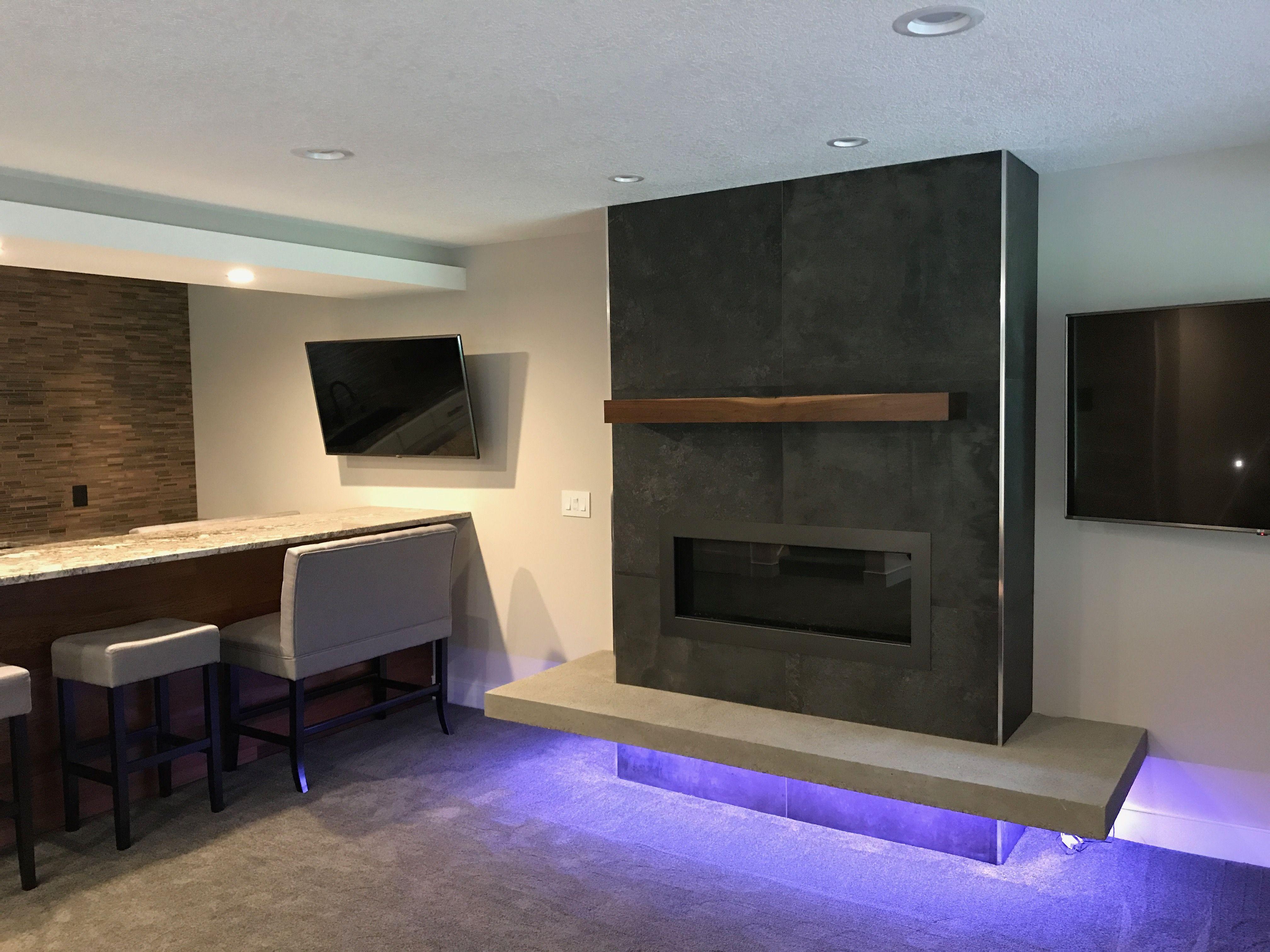 Dark Grey Tile Fireplace Concrete Bench And Lights Dark Grey