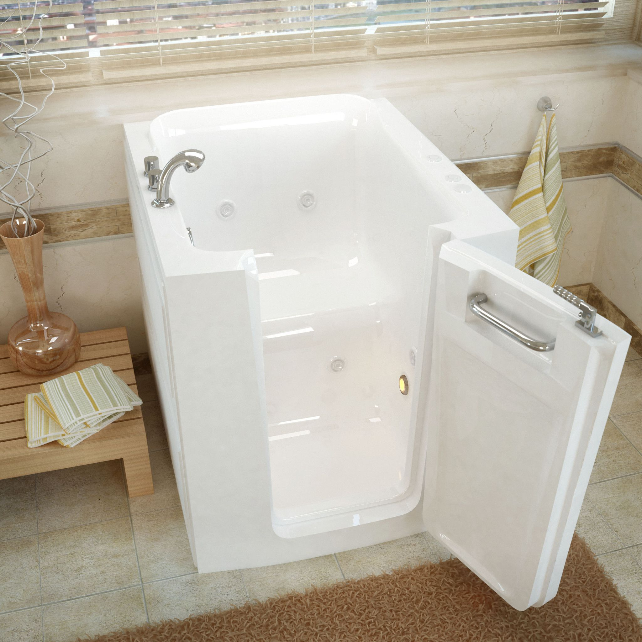 Meditub Walk In 32 X 38 Right Door White Whirlpool Jetted Walk In