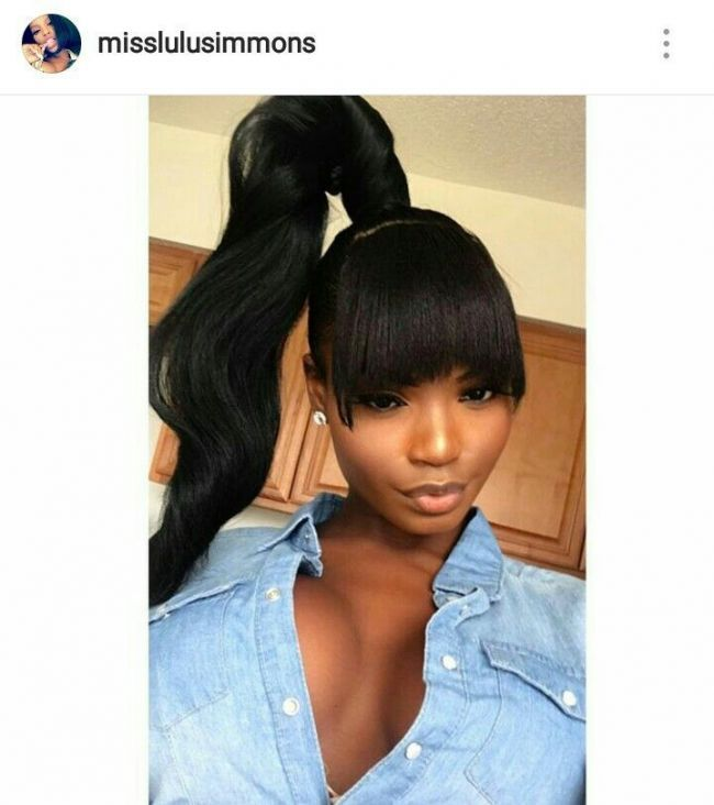 Pin By Maria Carey On Hair Styles In 2018 Pinterest Hair Styles Hair And Bla Weave Ponytail Hairstyles Weave Ponytails With Bangs High Ponytail Hairstyles