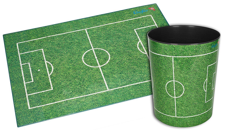 MotivPapierkorb Fußballfeld, 13 Liter Mülleimer, perfekt