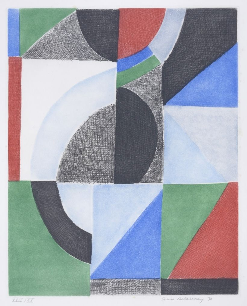 Sonia Delaunay 'Avec Moi-Même - Composition. With Myself - Composition' 1970. Signed.
