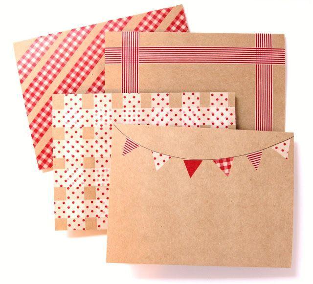 easy washi-tape decorated envelopes - 20 Creative Washi Tape Ideas | Yes Missy!