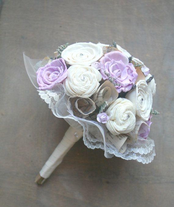 Handmade Lavender Purple Bridal Bouquet Wood, Paper, Dried Flowers by TheSunnyB, $92.00 #weddings