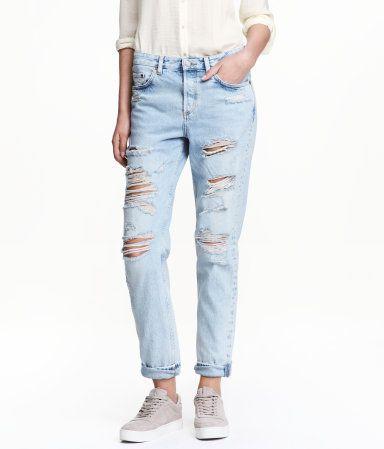 Boyfriend Low Ripped Jeans | Azul denim claro | Mujer | H&M CO