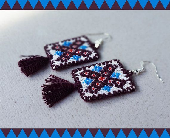 0f5948dc97d06 Beautiful Mexican embroidered earrings