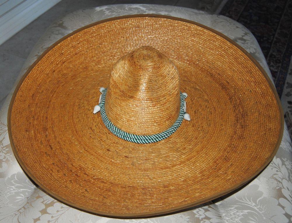 """1979 Mexican Sombrero Western Charro Hat Straw Vaquero El Charro EUC 22"""""""