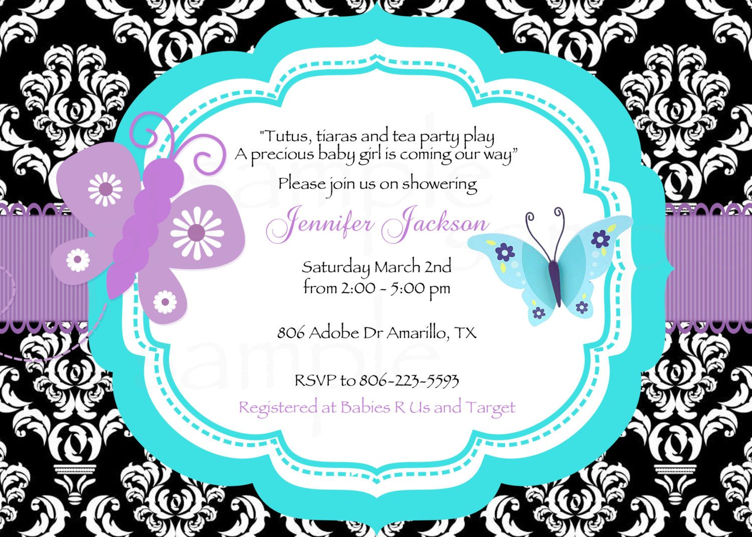 Damask Teal/Purple Butterfly Baby Shower Printable Invitation & Tags ...