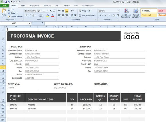 Proforma Invoice Template for Excel 2013 Excel Pinterest