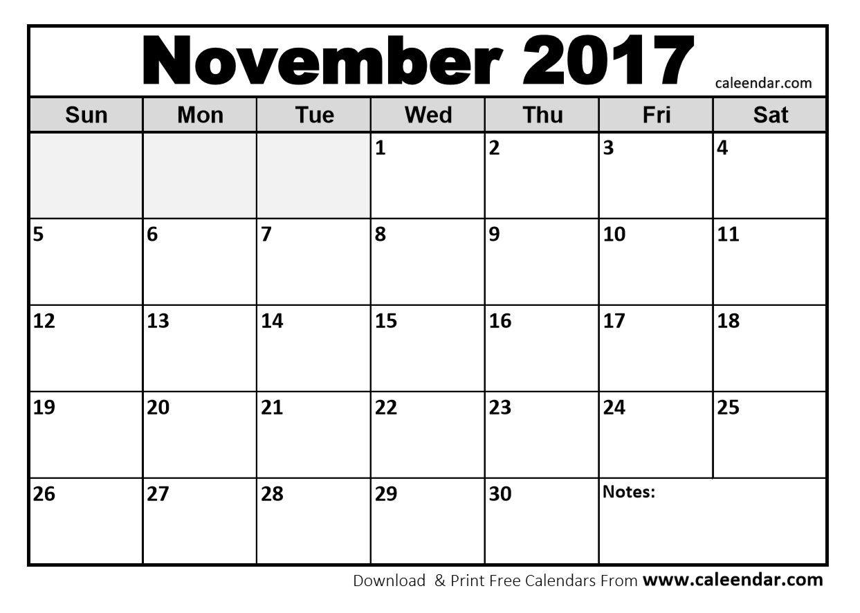 November Calendar Printable Template With Holidays