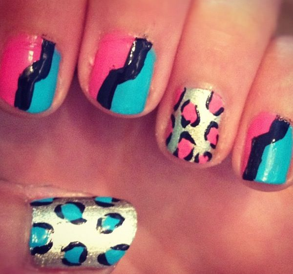 leopard graphic nails
