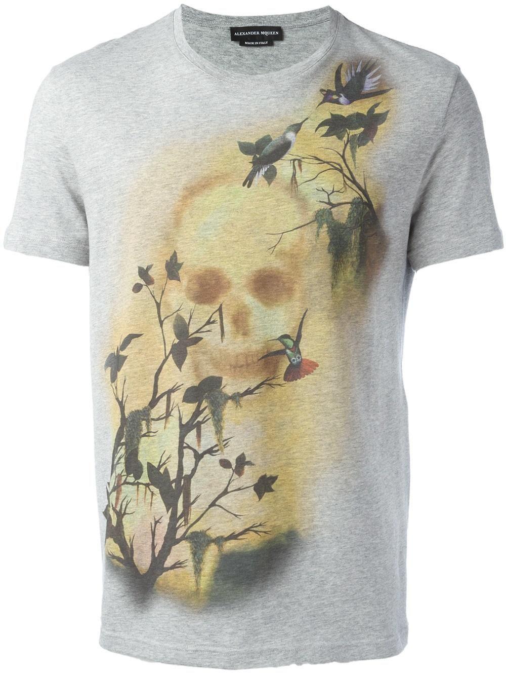 Alexander McQueen camiseta con estampado de calavera y pájaro ... b6cac04236ab8