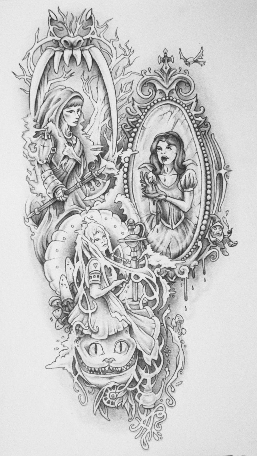 badass fairy tales tattoo shaded by on deviantart tattoos. Black Bedroom Furniture Sets. Home Design Ideas