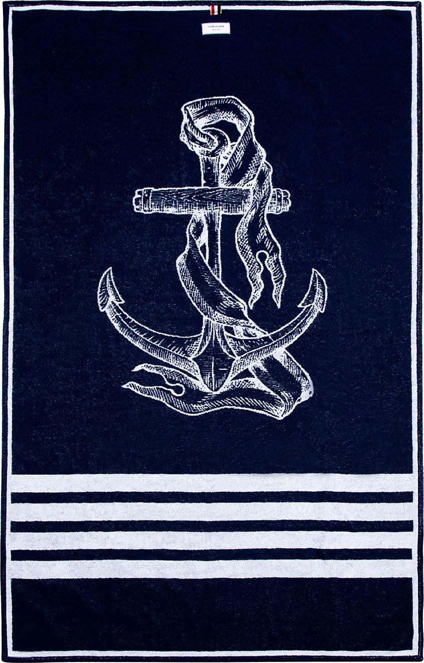 Thom browne navy anchor beach towel ssense