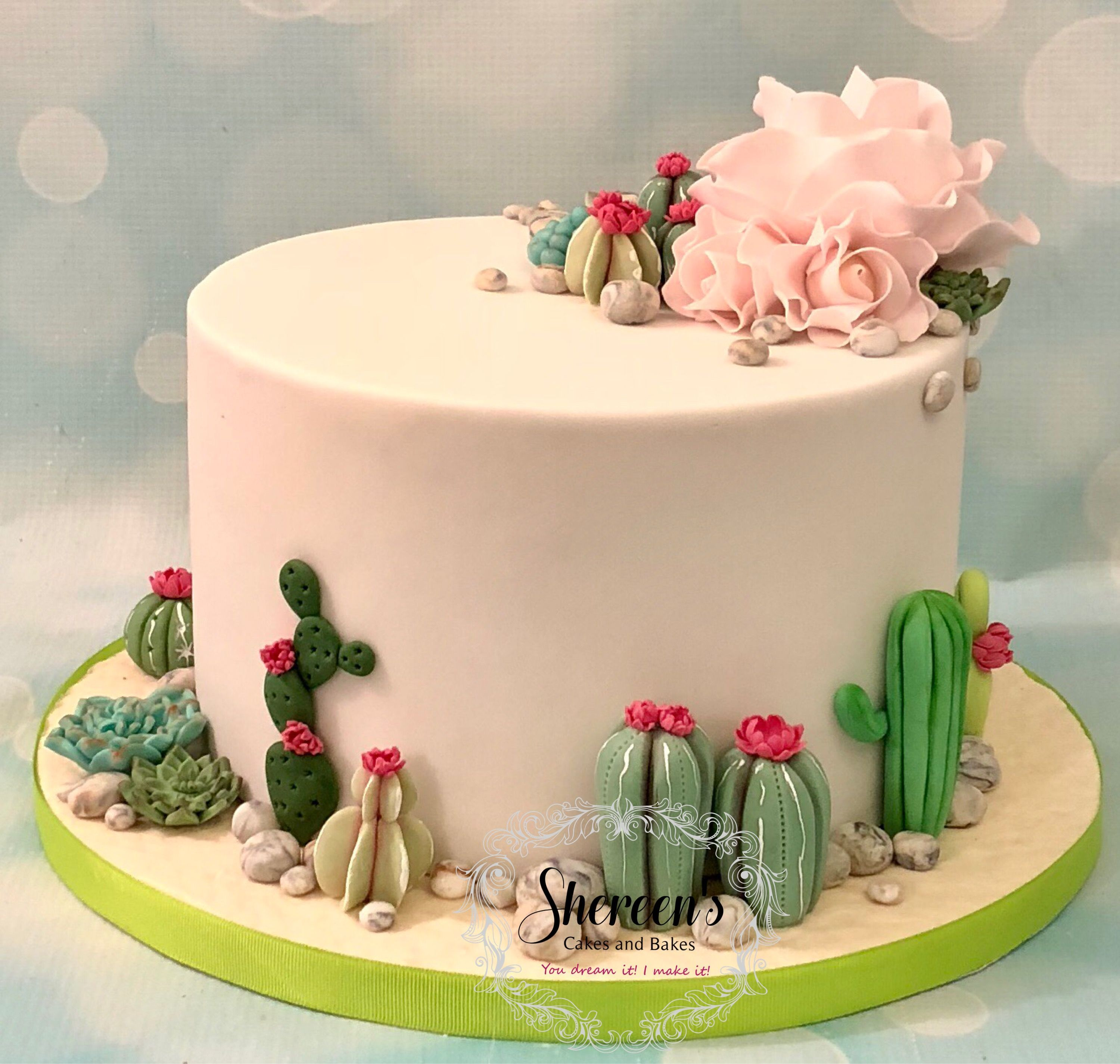 Cactus Cacti Birthday Cake With Flowers And Roses All
