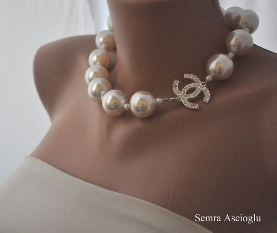 Bridal Pearl Statement Necklace Rhinestone Brooch Beautiful