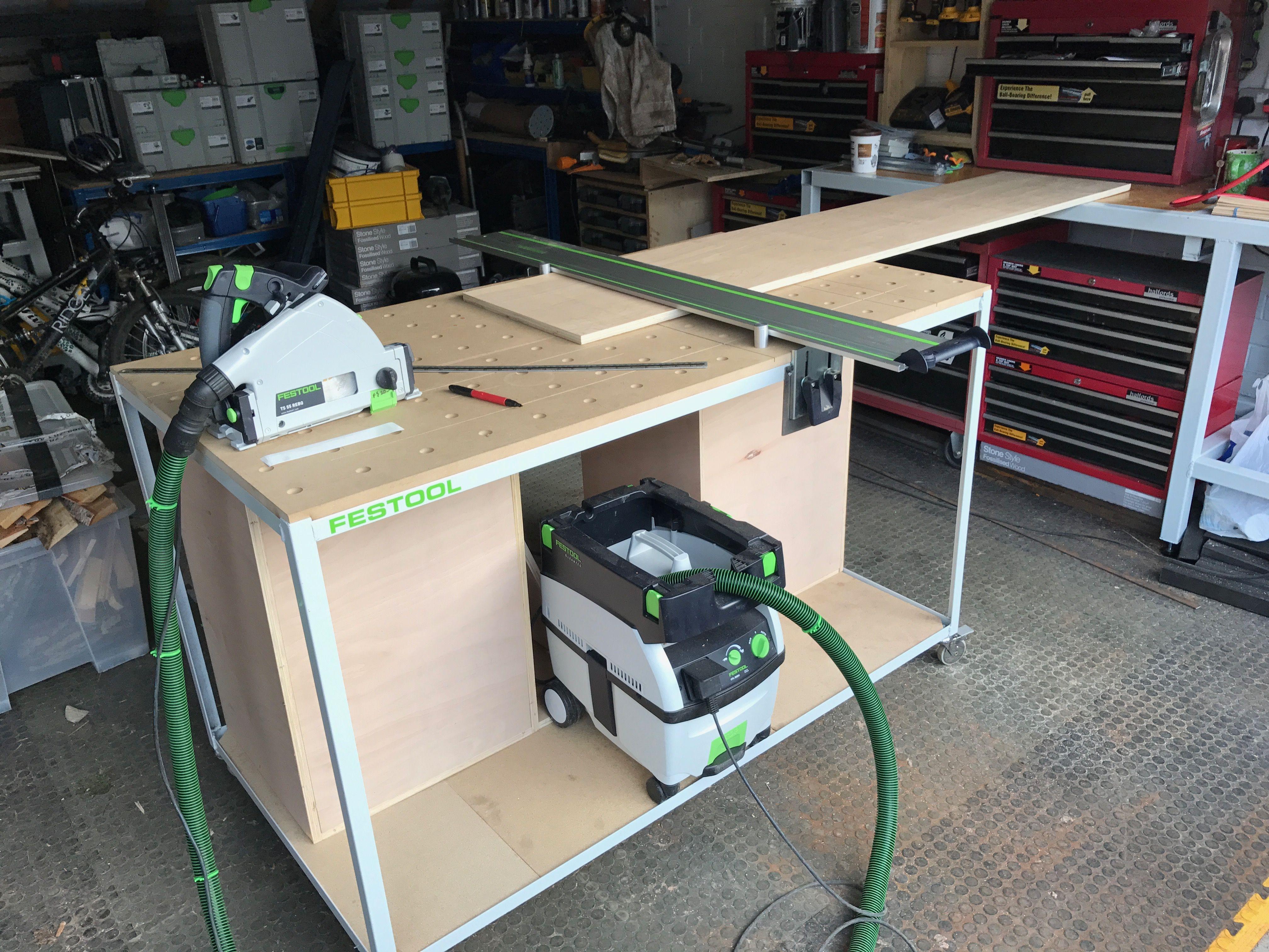 Holzwerkbank mit System MFT Selbstbau auswechselbare Werkstatt Pinterest