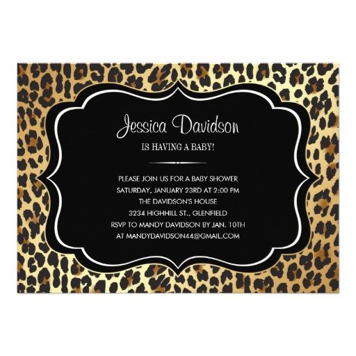 animal print leopard baby shower invitation animal print baby shower