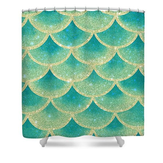 Abstract Mermaid Scales Shower Curtain Teal Gold Mystical | Scale ...