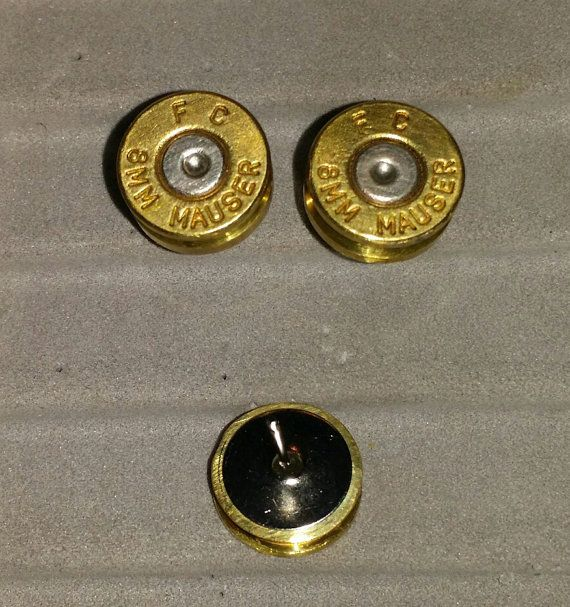 Love these!! 8mm Mauser rifle-round stud earrings by ABoyAndHisDaddy on Etsy