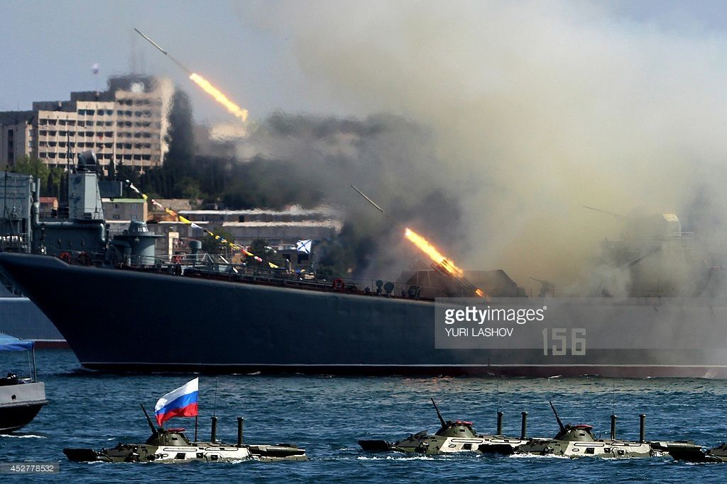 The Yamal A Ropucha Class Landing Ship Of The Russian Navy Fires Black Sea Fleet Syria Navy Day
