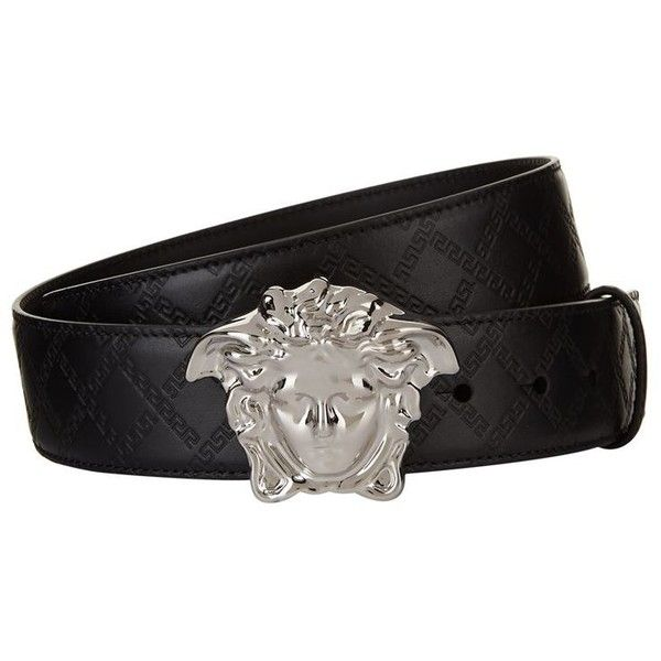 43a1cff2743 Versace Medusa Head Embossed Belt ($360) ❤ liked on Polyvore featuring mens  fashion, mens accessories, mens belts, versace mens belt, mens leather belts,  ...