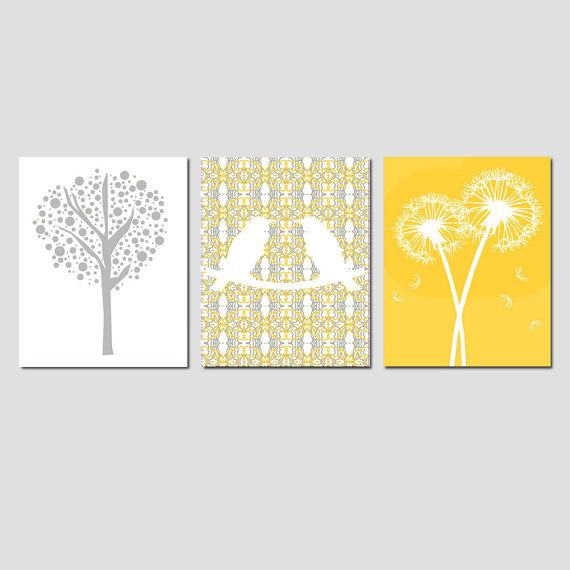 Nursery Art Trio - Love Birds, Tree Dot, Dandelion Floral - Set of Three 11x14 Prints - Choose Your Colors - Shown in Yellow and Gray