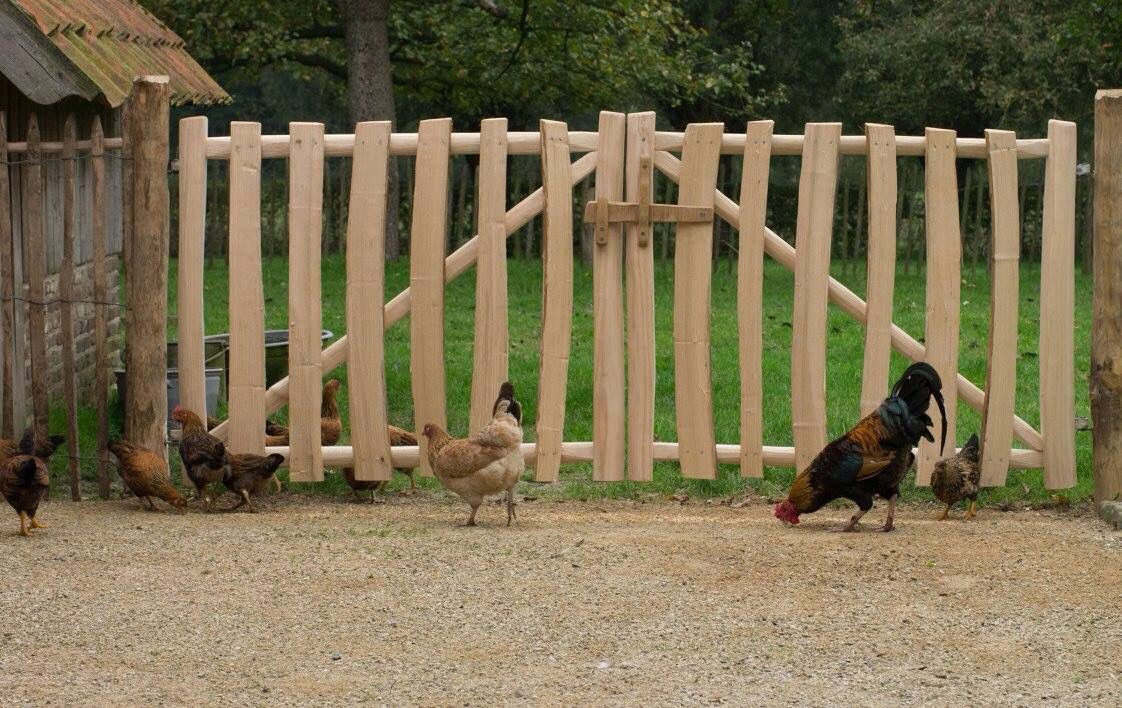 Double garden fence from split chestnut wood with lock from robi …