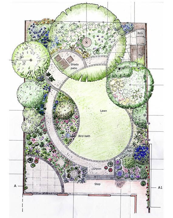 Designing garden layout i 39 m loving the curves in this for Garden plans for small gardens