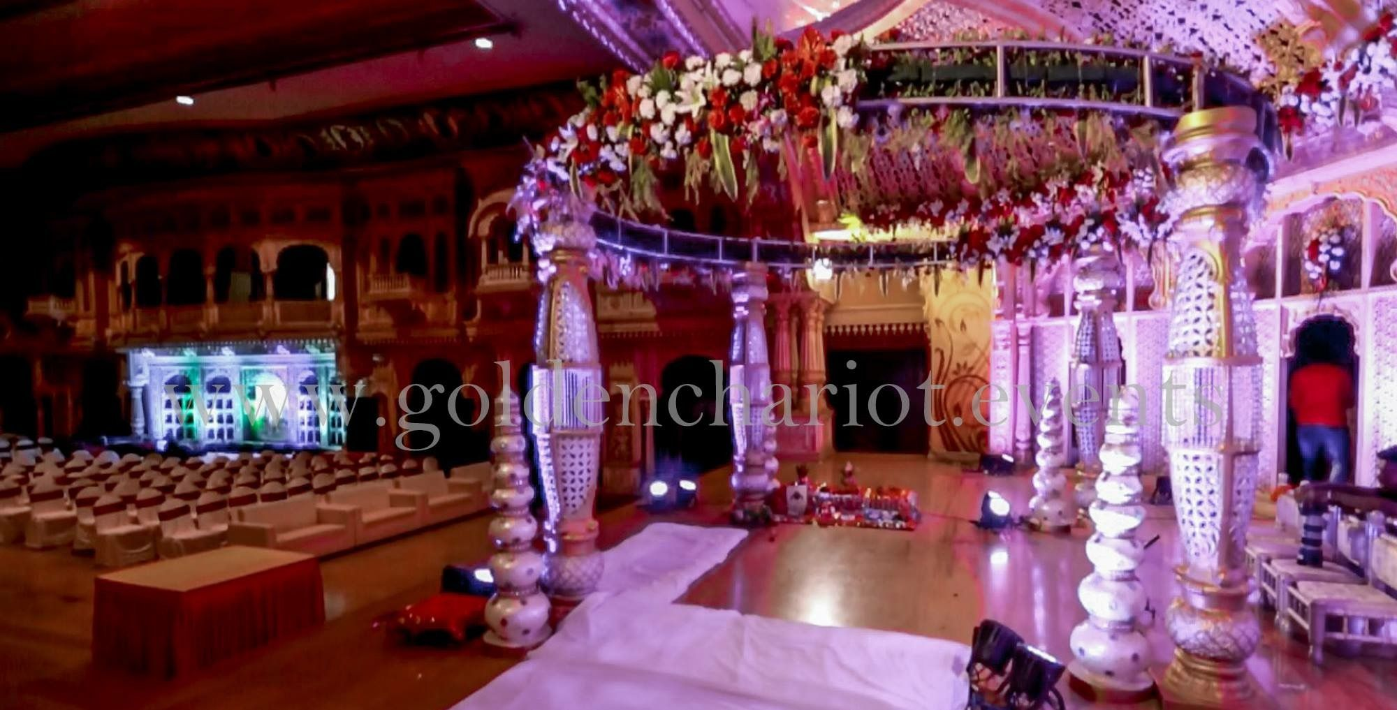 Wedding stage decoration with balloons  goldenchariot Mandap in a circular canopy clasped with