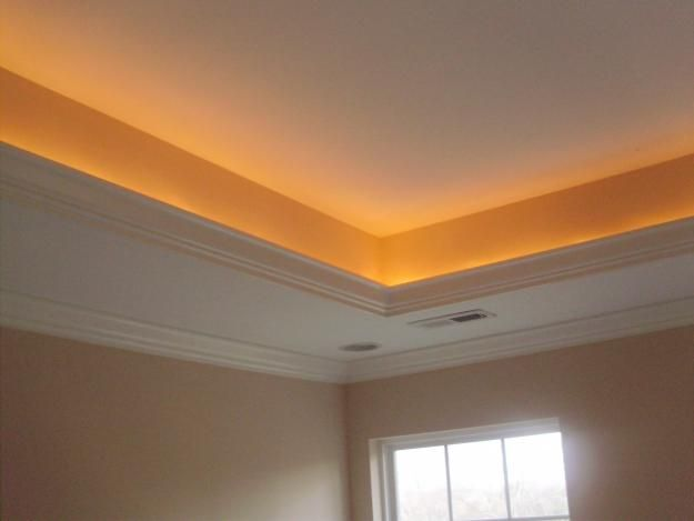 ceiling up lighting. tray ceiling lights run ac vents along also to hide ugly vent covers up lighting