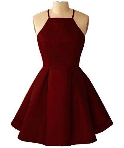 AiniDress Juniors Simple Homecoming Dress Short Halter Party Prom Dress Short