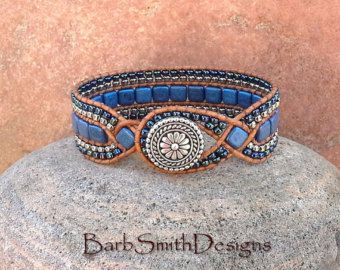 The Twisted Sister in Denim  Yes, shes a cuff bracelet, but what makes this sister twisted is the leather weaves that give this cuff her shape!
