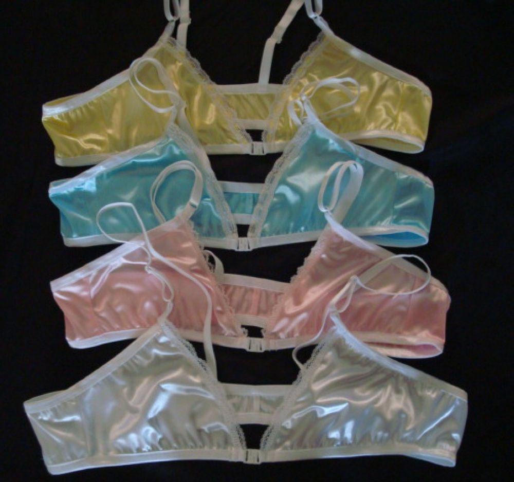 5324e7f9e7 BRA  Shiny Satin Spandex fabric with a clip Front Closure Training Bra in  Pink
