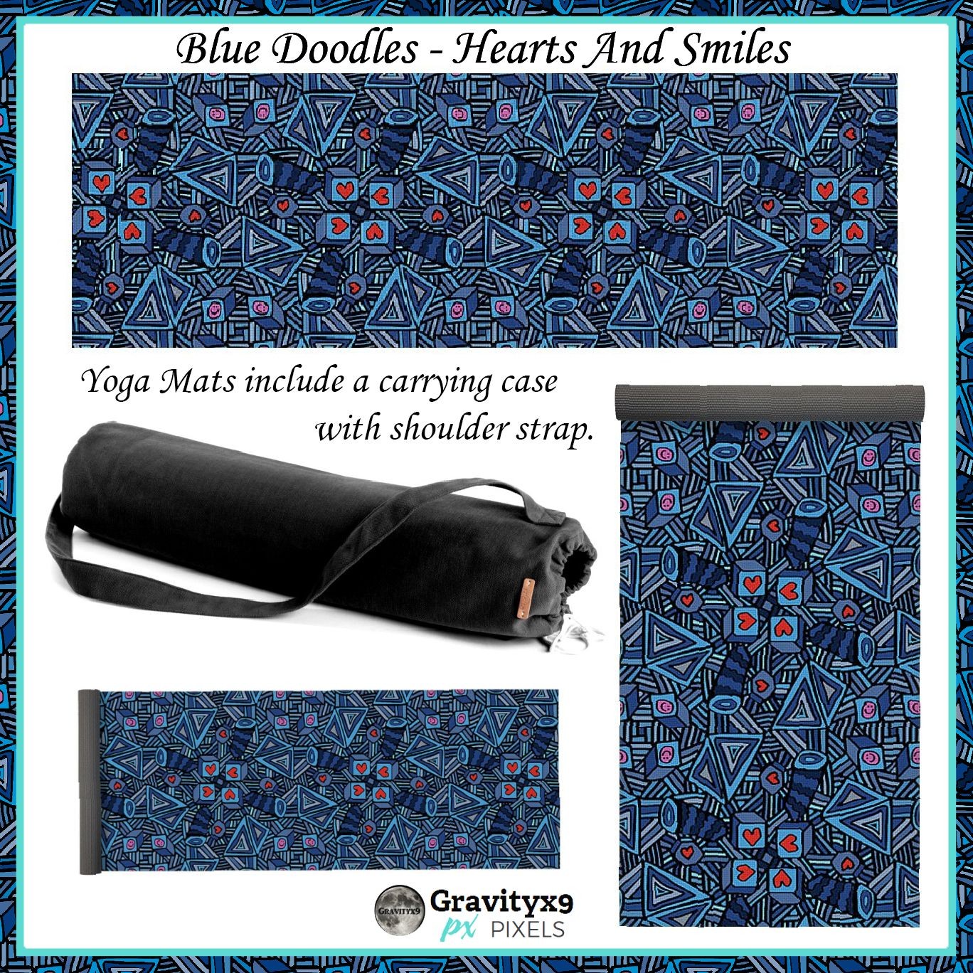 Blue Doodles - Hearts And Smiles Yoga Mat for Sale by ...